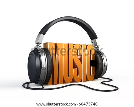 Music word with headphones