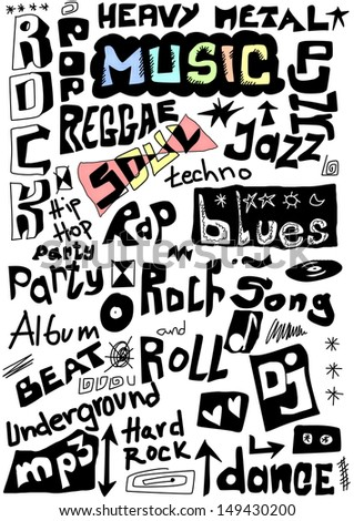 Music words seamless background - stock photo