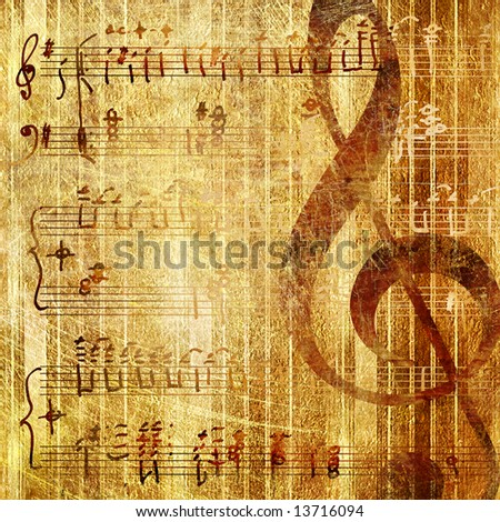 musical background in golden colors - stock photo