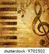musical background in golden grunge colors - stock photo