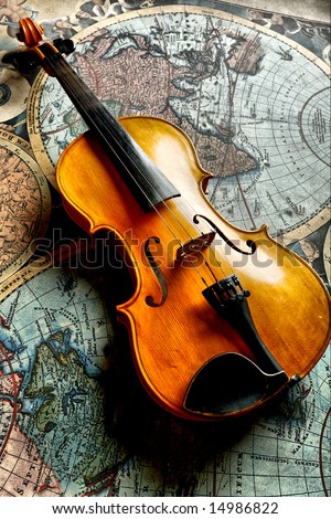 Musical background � instruments. Shot in studio. - stock photo