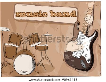 Musical background, music band - stock photo