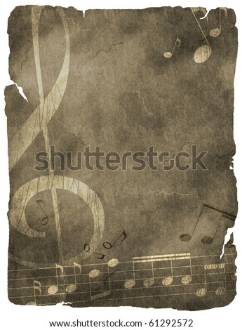 musical background on old paper - stock photo