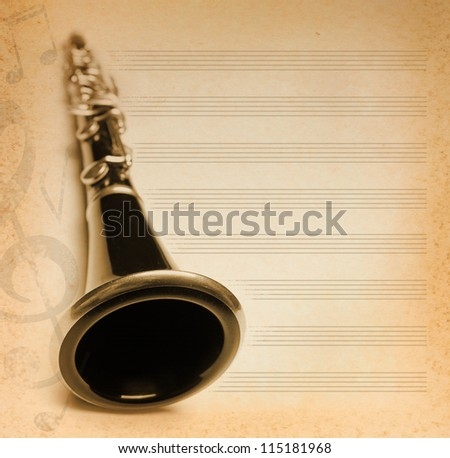 musical background with flute, key and notes - stock photo