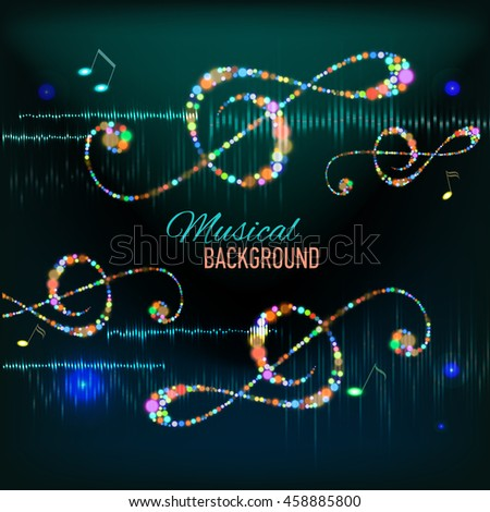 Musical background with key. notes and equalizer - stock photo