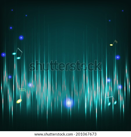 Musical background with musical key and notes and digital equalizer.  JPG version.