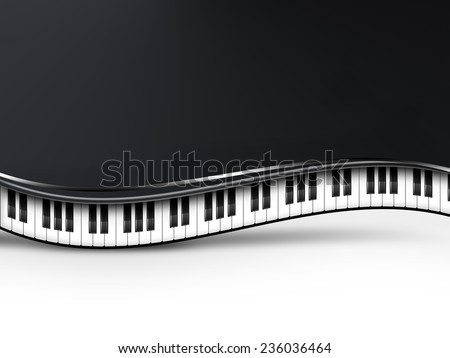musical background with piano keys - stock photo
