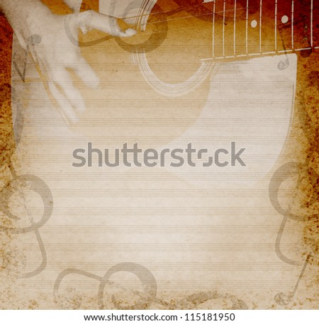 musical background with playing guitar and musical notes - stock photo