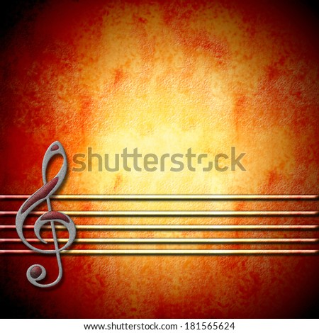 musical background with treble clef staff and with empty space for writing - stock photo