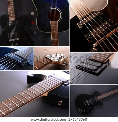 Musical collage. Guitar - stock photo
