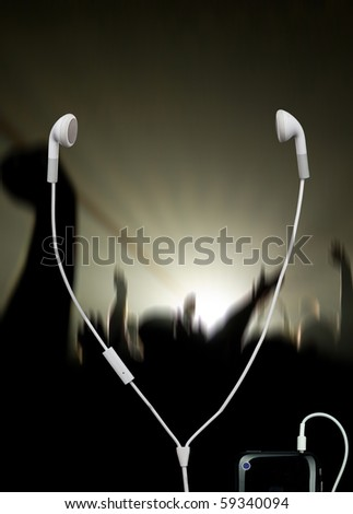 musical concert with white headphones - stock photo
