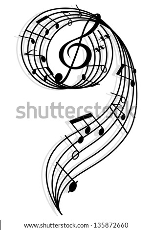 Musical curly elements with clef and notes. Vector illustration for art and entertainment background. Vector version also available in gallery - stock photo