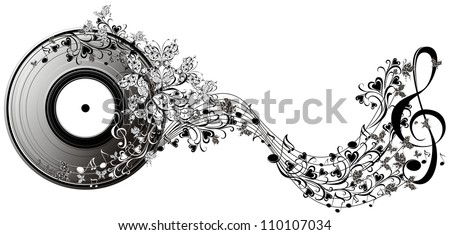 Musical disk with butterflies. Floral record - stock photo