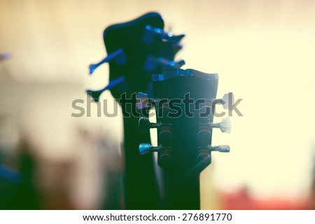 Musical equipement on stage, soft and blur concept - stock photo