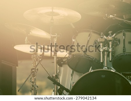 Musical equipment on stage, soft and blur concept - stock photo
