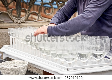 Musical glasses or glass harp - stock photo