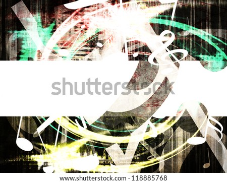 musical grunge background with space for sample text - stock photo