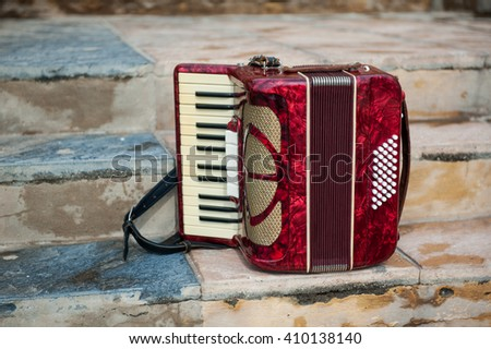 Musical instrument accordion - stock photo