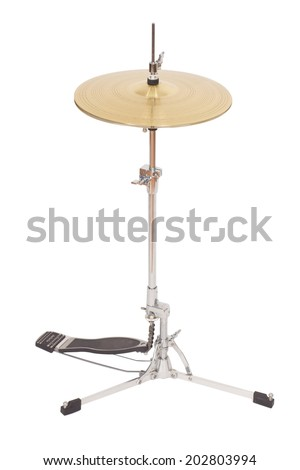 musical instrument cymbal isolated on white - stock photo