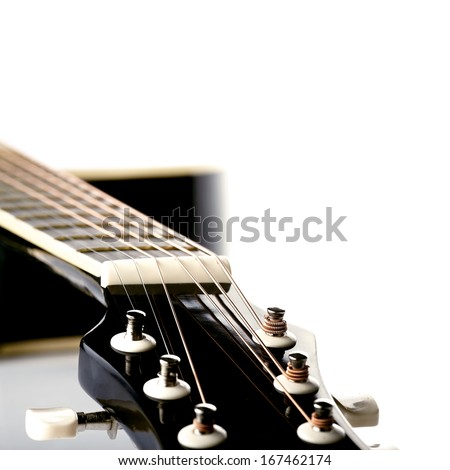 Musical instrument. Detail of a musical instrument. Strings on a guitar. - stock photo