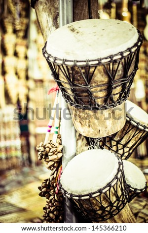 Musical instrument in local market in Peru. - stock photo