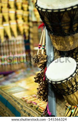 Musical instrument in local market in Peru. - stock photo