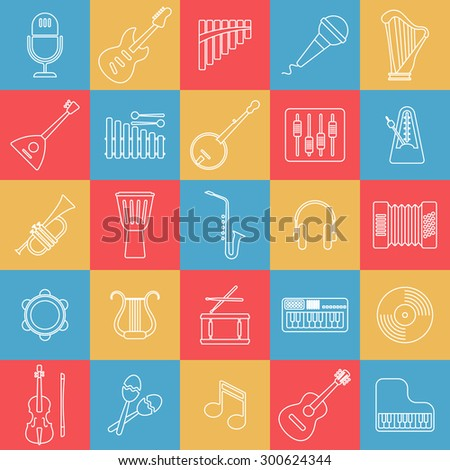 Musical instrument line icon. Raster version - stock photo