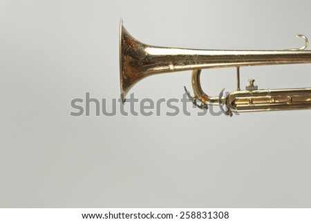Musical instrument old rusty trumpet background side view - stock photo