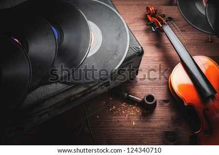 musical instruments and old objects - stock photo