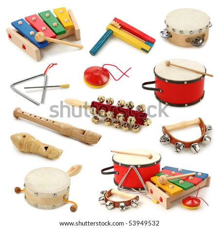 Musical instruments collection on white background - stock photo