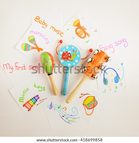Musical instruments collection on white background. Top view