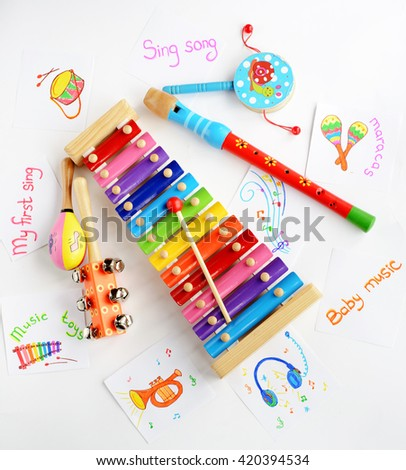 Musical instruments collection on white background. Top view - stock photo