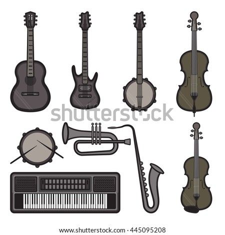 Musical instruments icons isolated on white background for jazz and blues
