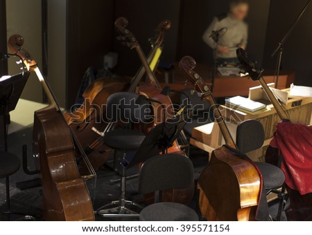musical instruments in an orchestra during a break.