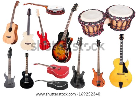 Musical instruments isolated under a white background - stock photo