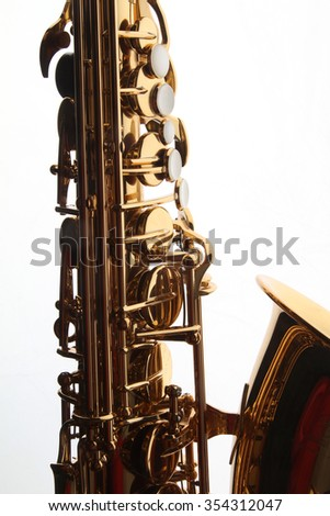 musical instruments - saxophone - valves and tubes - shiny gold metal