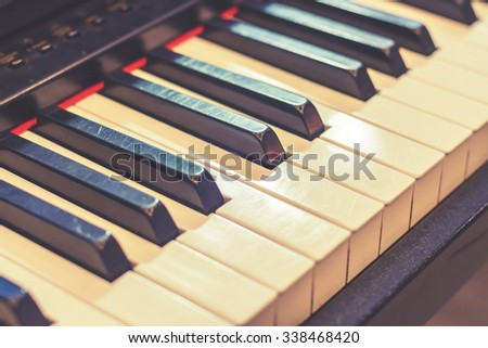 Musical instruments, the piano, the melody and beautiful sounds with a color vintage.