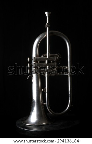 musical instruments - trumpet - valves and tubes - mouthpiece for playing - stock photo