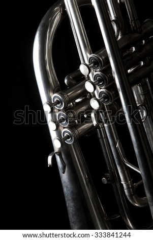 musical instruments - trumpet - valves and tubes - mouthpiece for playing
