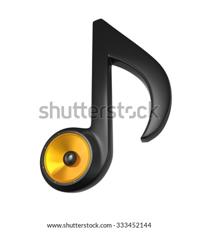 Musical Note and Speaker - stock photo