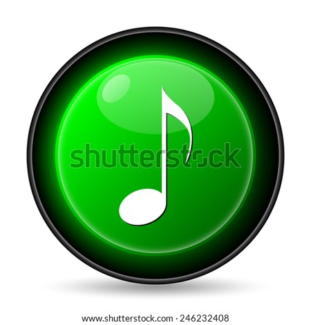 Musical note icon. Internet button on white background.  - stock photo