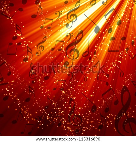 Musical note on a red and burning  background - stock photo
