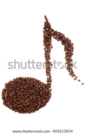 Musical note shape made of coffee beans over white background. - stock photo