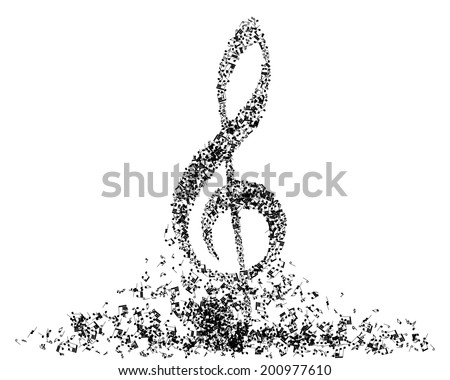 Musical note staff. - stock photo
