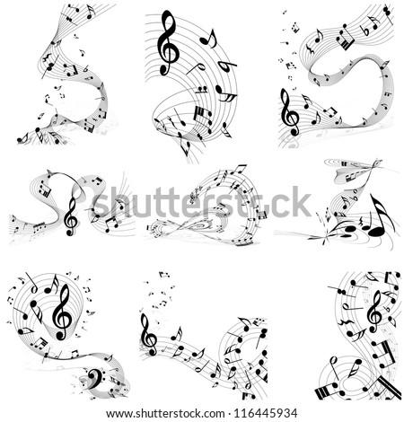 Musical note staff set.  Raster version. - stock photo