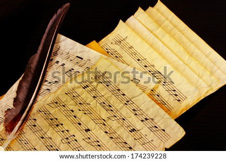 Musical notes and feather - stock photo