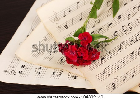 Musical notes and flower on wooden table - stock photo