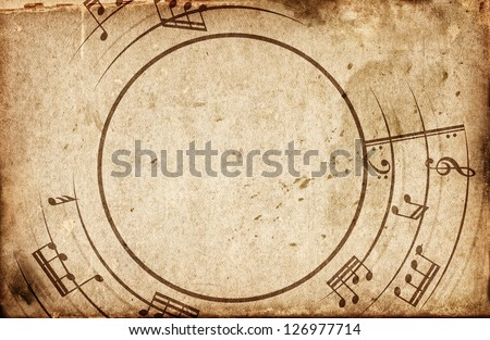 musical notes frame - stock photo