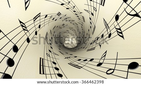Musical notes on old vintage paper - stock photo