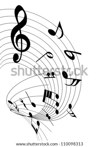 Musical notes staff background for design use